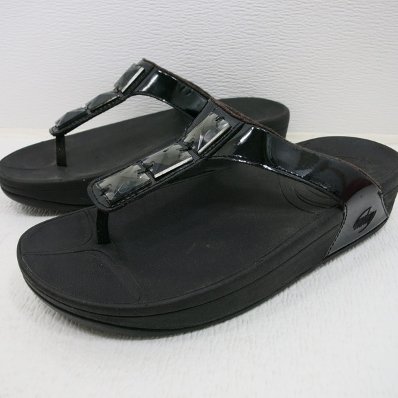 13bfb3875a033d Fitflop Shoes - Fitflop Patent Leather Black Bead Comfort Sandal 7